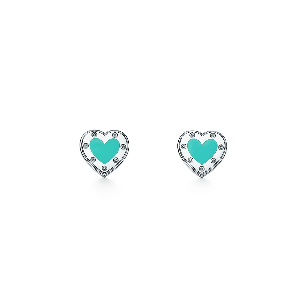 Return To Tiffany Love Heart Earrings In Silver With Enamel Finish Mini Co