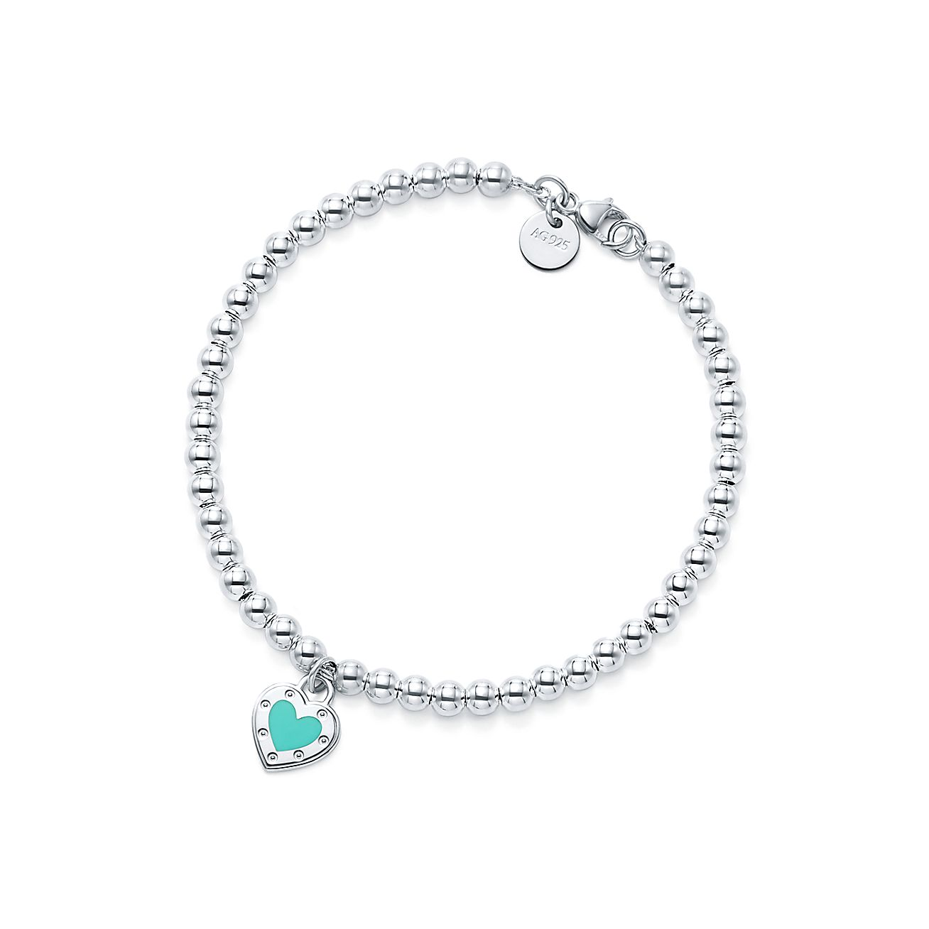 Return To Tiffany Love Heart Bead Bracelet In Silver With Enamel Finish Co