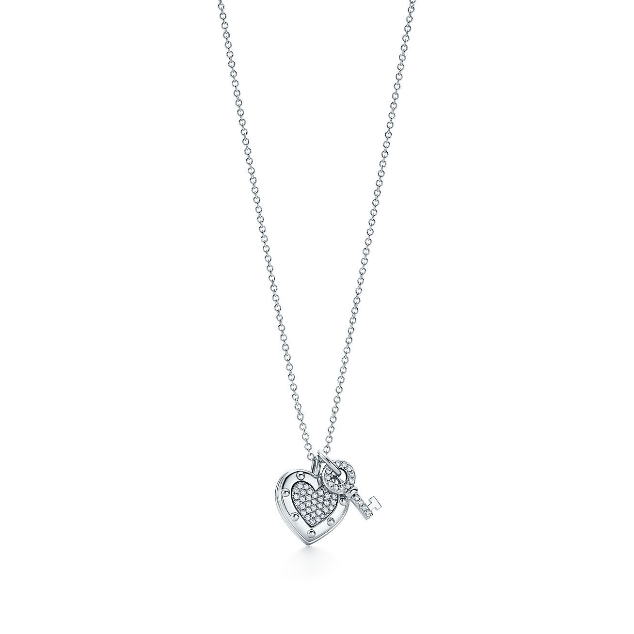 Return To Tiffany Love Heart Tag Key Pendant In 18k White Gold With Diamonds Tiffany Co