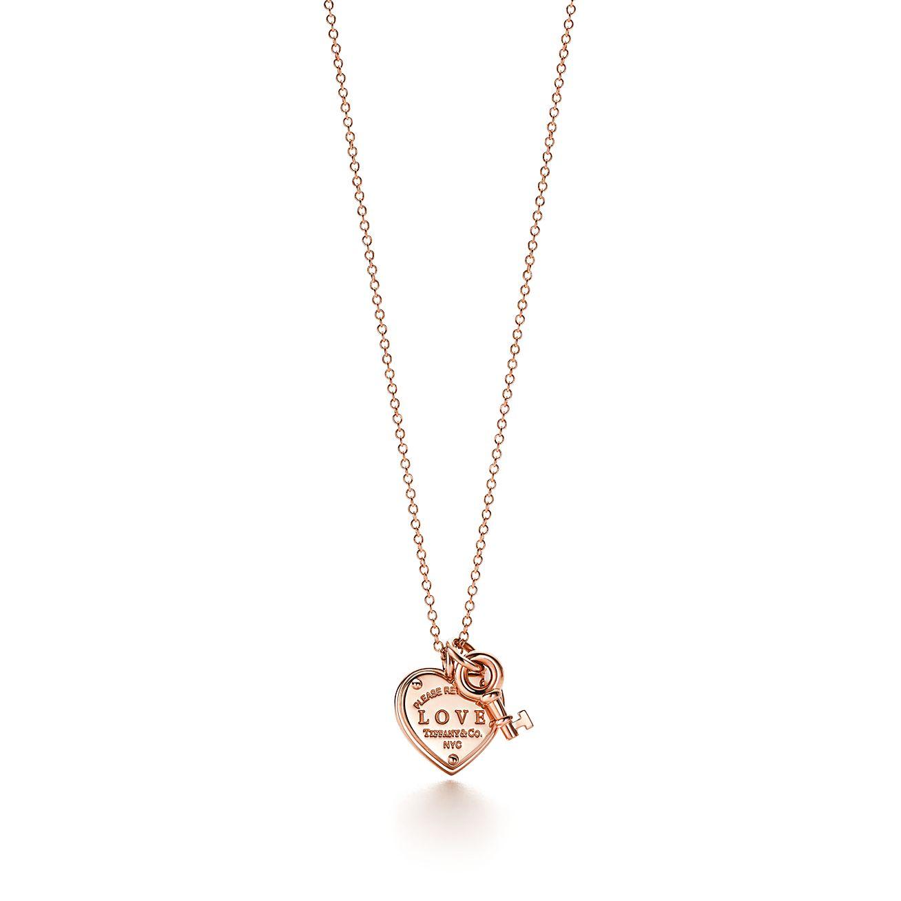 Clés Tiffany Pendentif Coeur Est-ouest En Or Rose 18 Carats, Tiffany & Co.