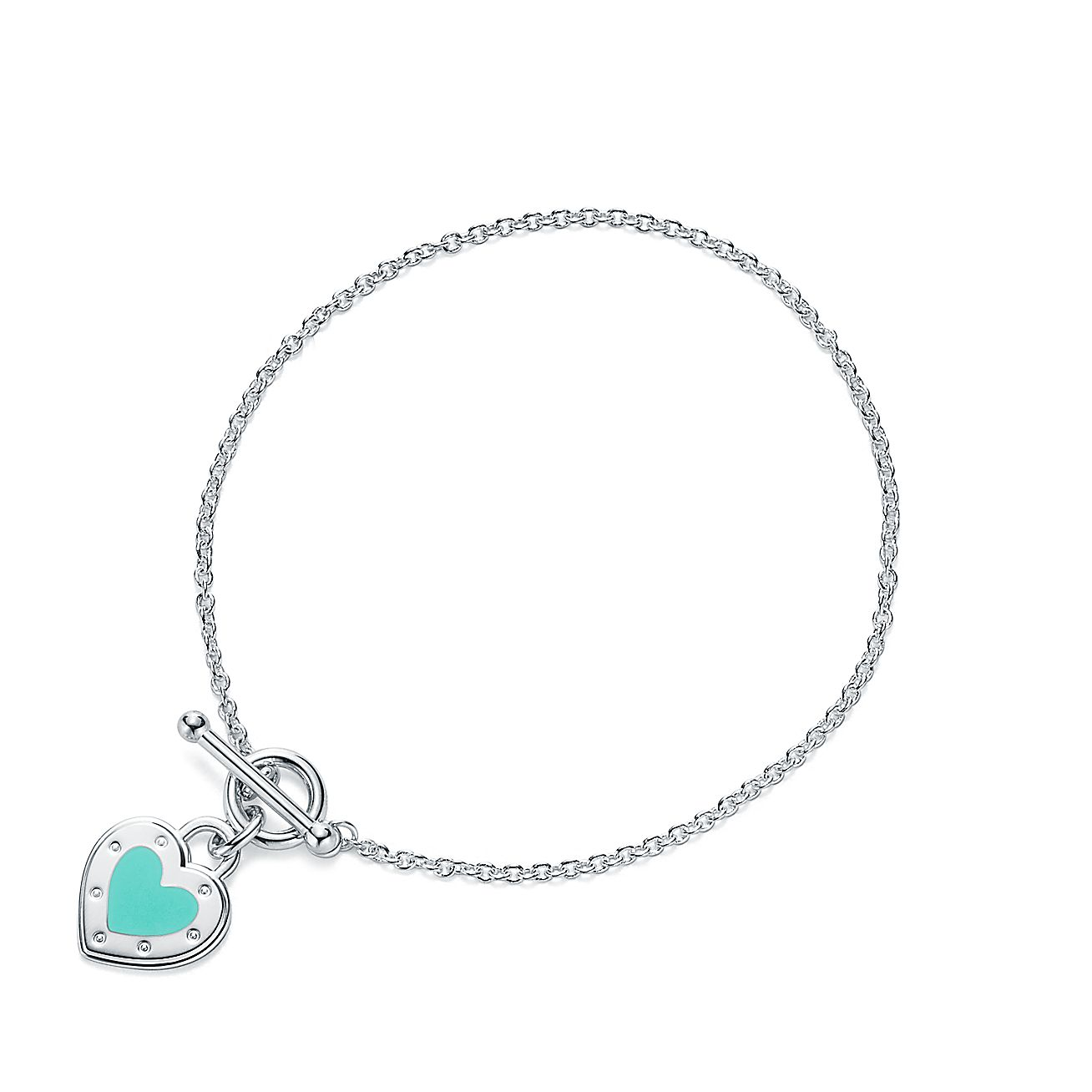 Return To Tiffany Love Heart Toggle Bracelet In Silver With Enamel Finish Co