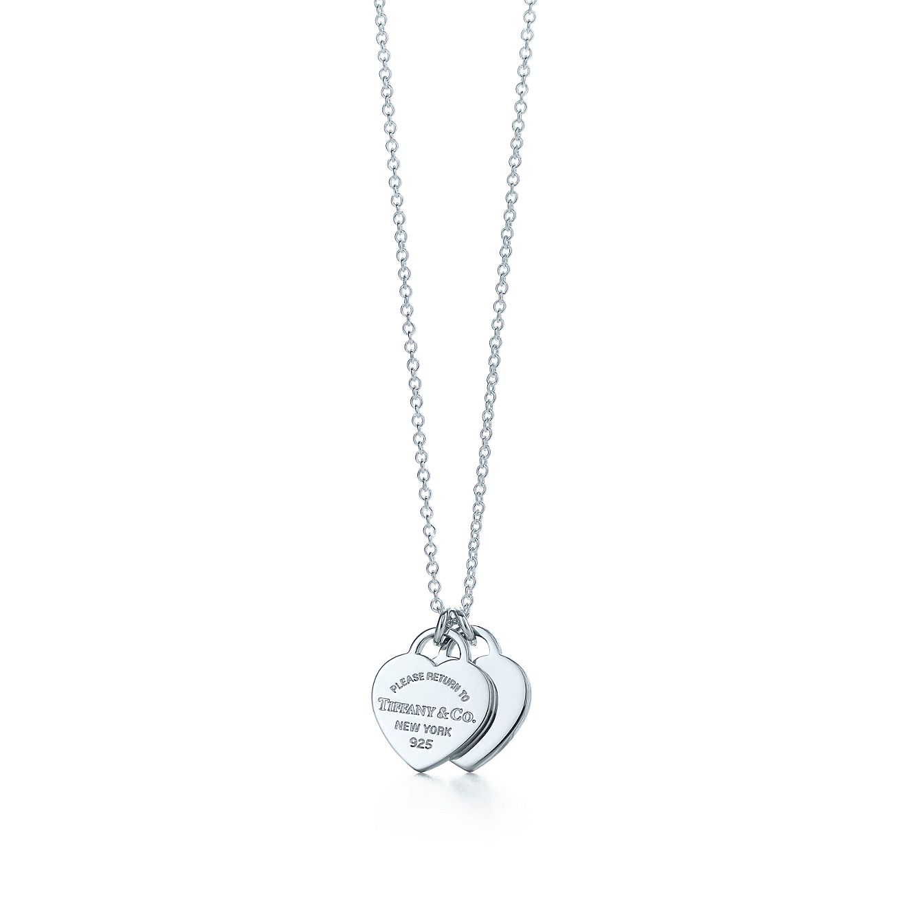 Return to Tiffany® mini double heart tag pendant in sterling silver. |  Tiffany & Co.