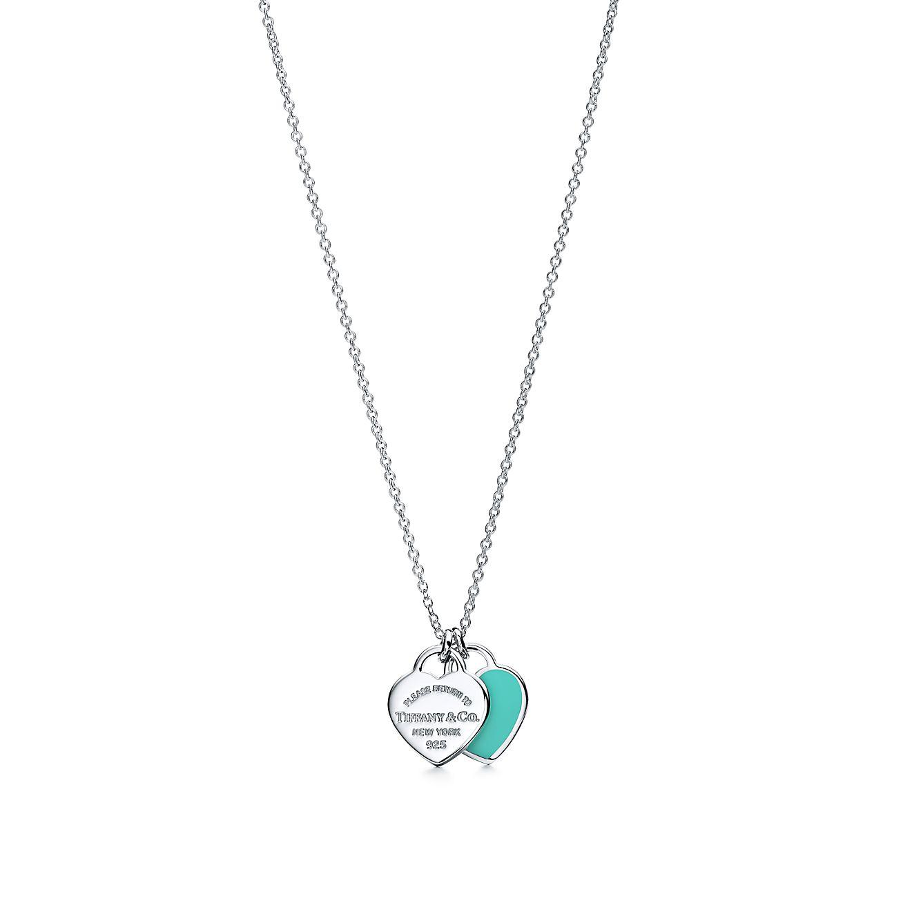Return To Tiffany Mini Double Heart Tag Pendant In Silver With Tiffany Blue Enamel Finish On A 16 Chain Tiffany Co