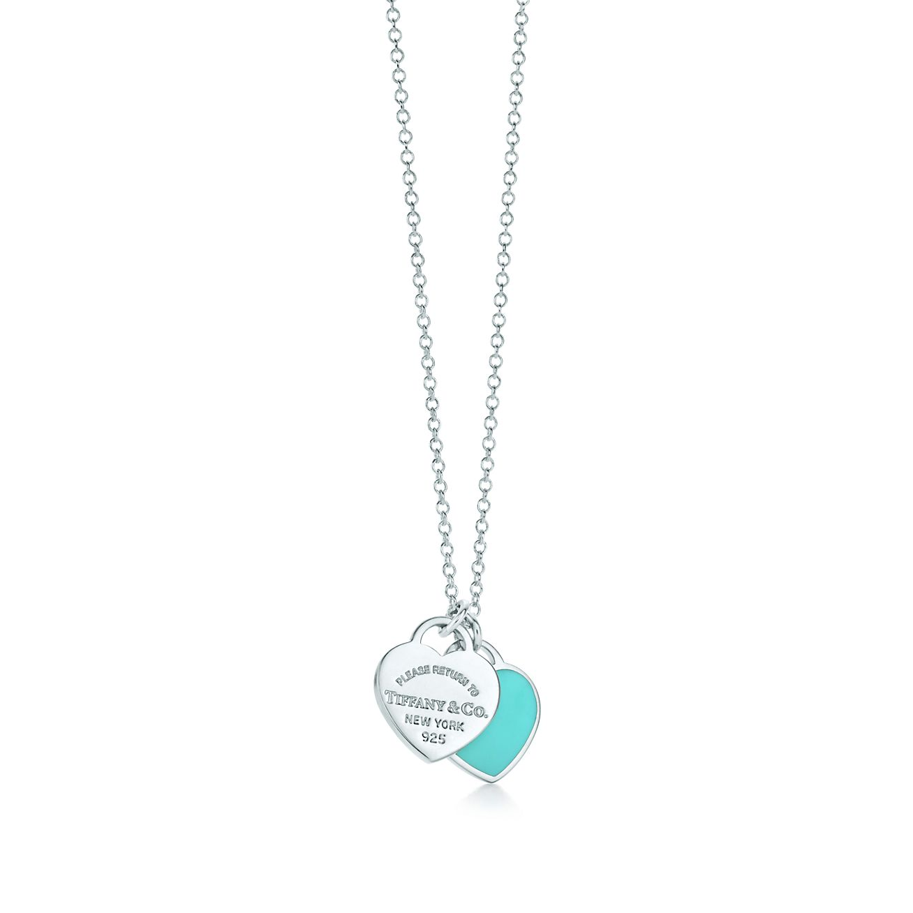 Return to Tiffany™ mini double heart tag pendant in silver with Tiffany  Blue enamel finish on a 16