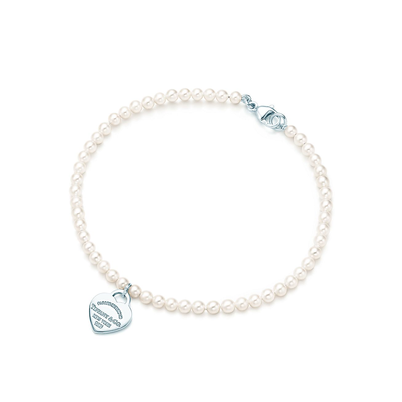 Return To Tiffany Mini Heart Tag In Silver On A Freshwater Pearl Bracelet Co