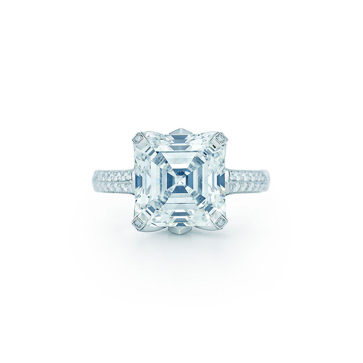 Square Step Cut Diamond Ring In Platinum With Round Brilliant Diamonds Tiffany Co