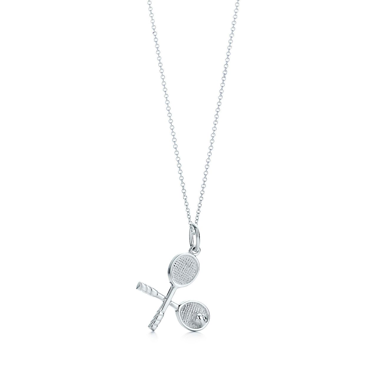 Tennis racquet charm in sterling silver on a chain tiffany co tennis racquet charm and chain aloadofball Images