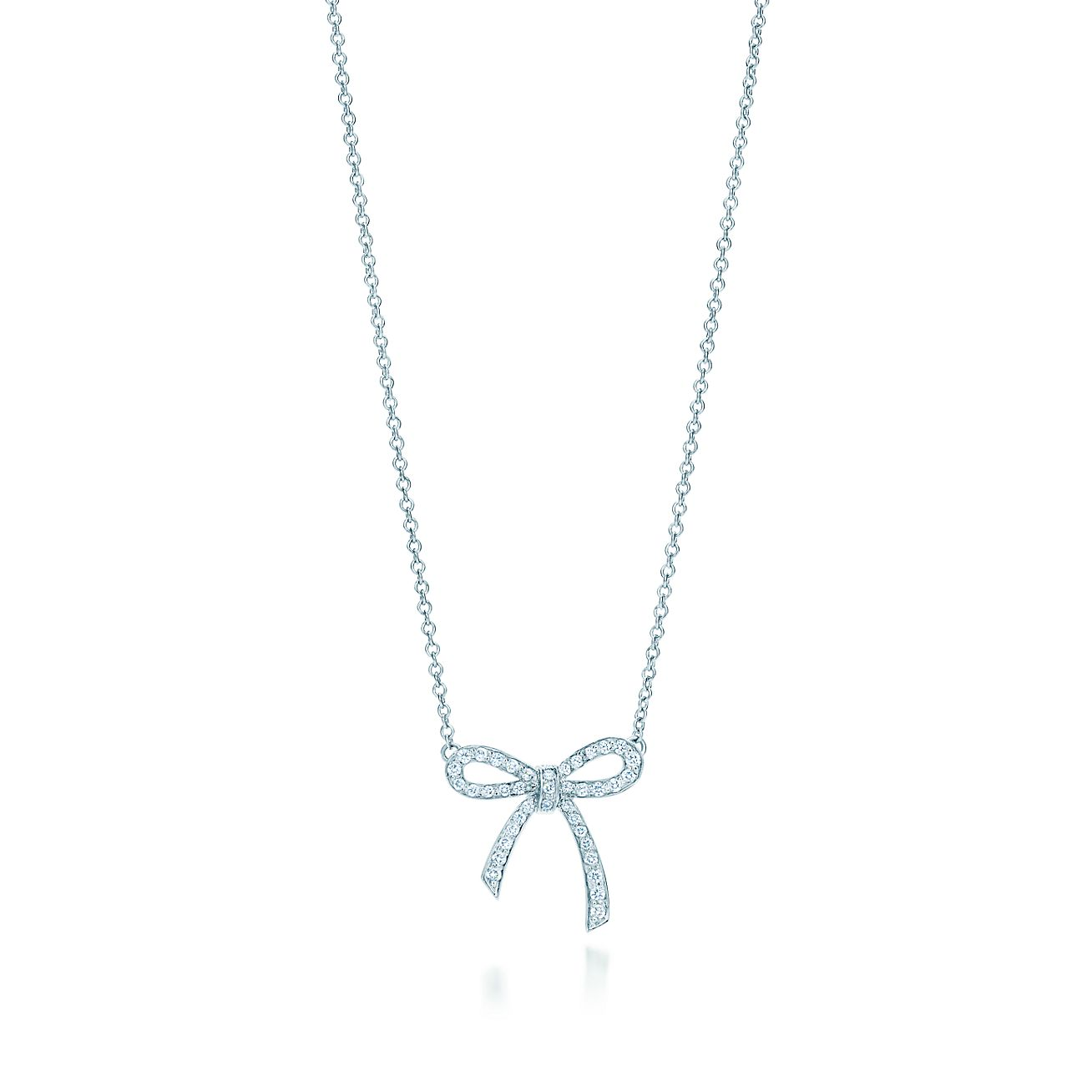 Tiffany bow pendant in platinum with diamonds mini tiffany co tiffany bowpendant aloadofball Images