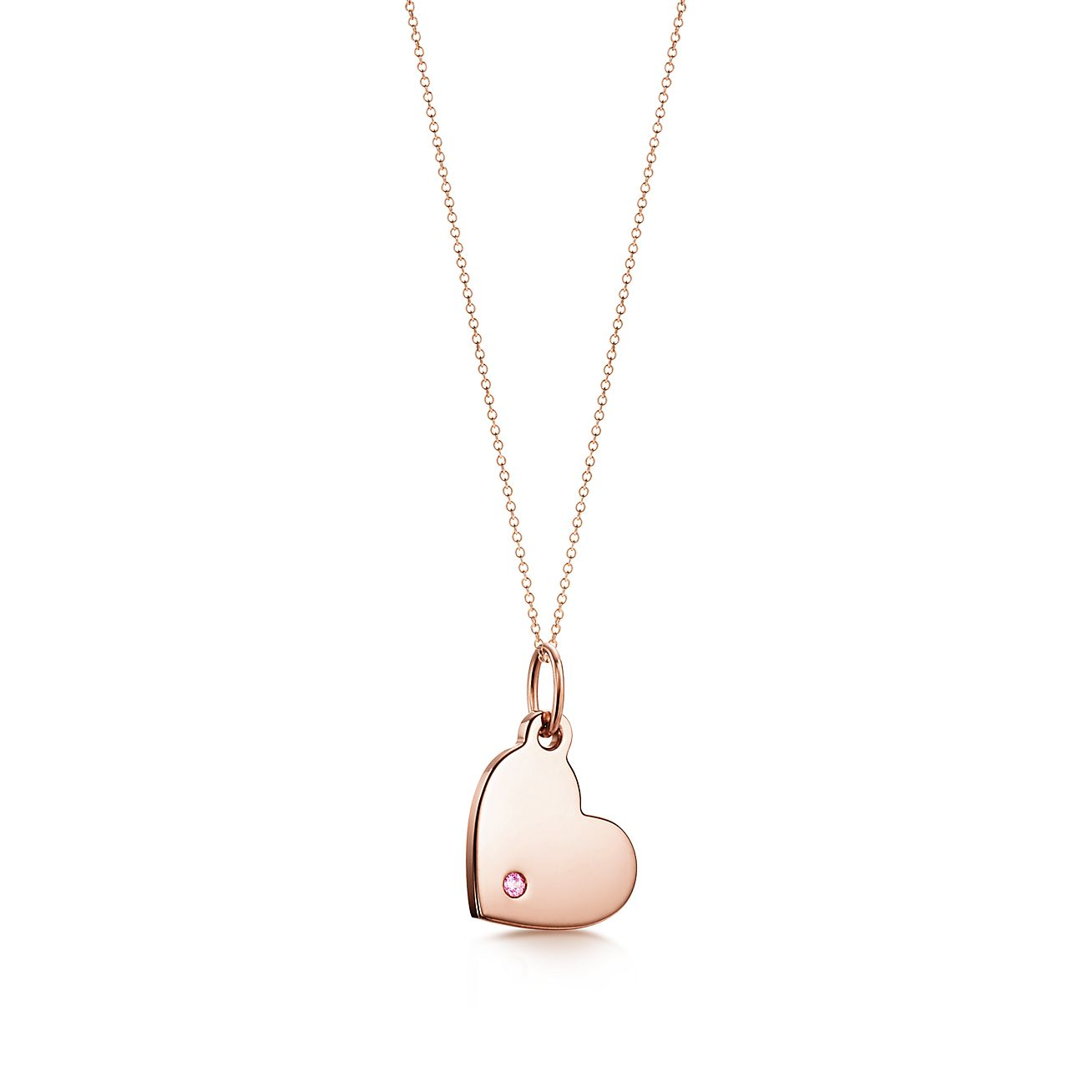 Tiffany Charms Heart Tag In 18k Rose Gold With A Pink Sapphire Mini Tiffany Co