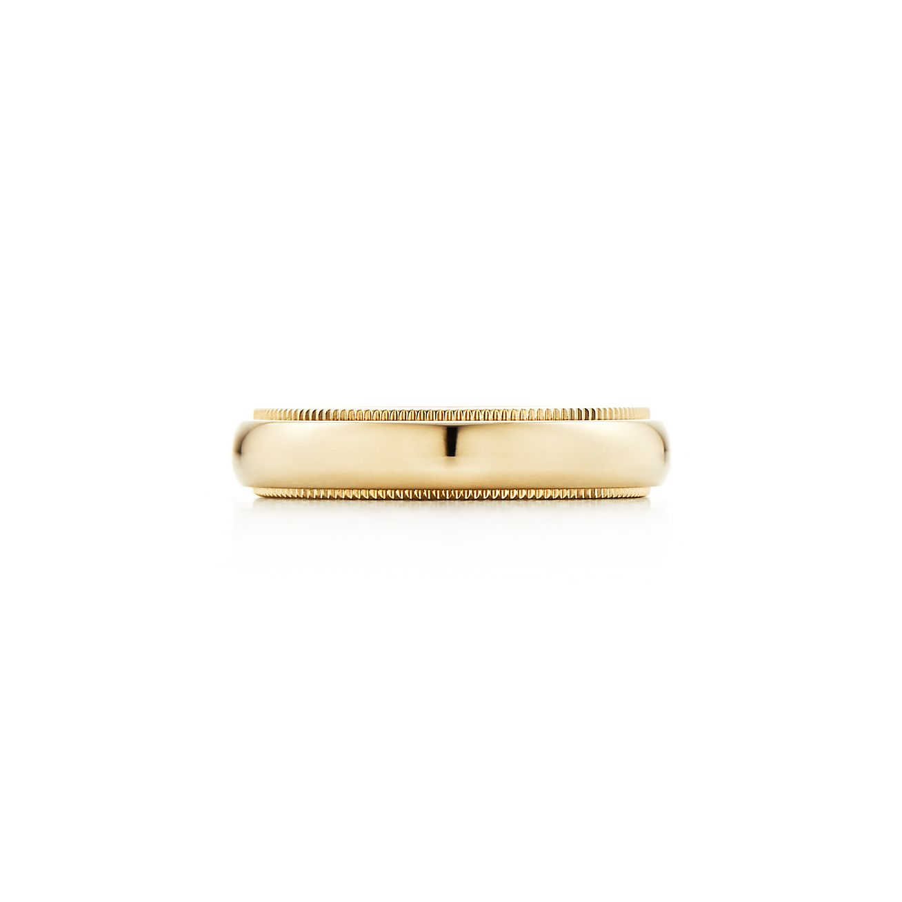 Tiffany Classic milgrain wedding band ring in 18k gold 4 mm wide