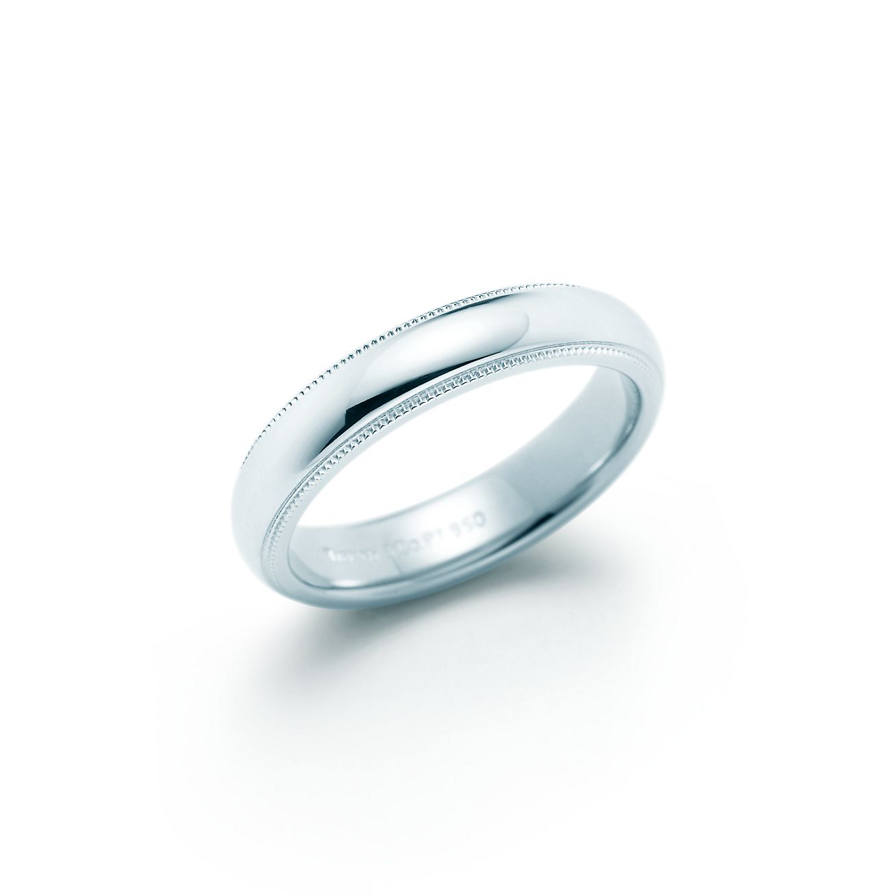 Milgrain wedding band ring in platinum 4mm wide Tiffany Co