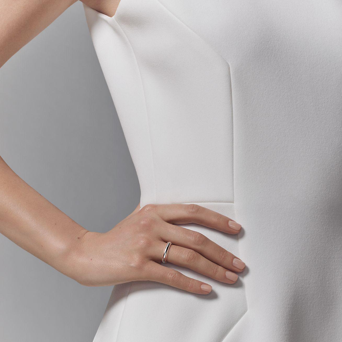 Milgrain Wedding Band   Tiffany Classic Milgrain Wedding Band Ring In Platinum And 18ct