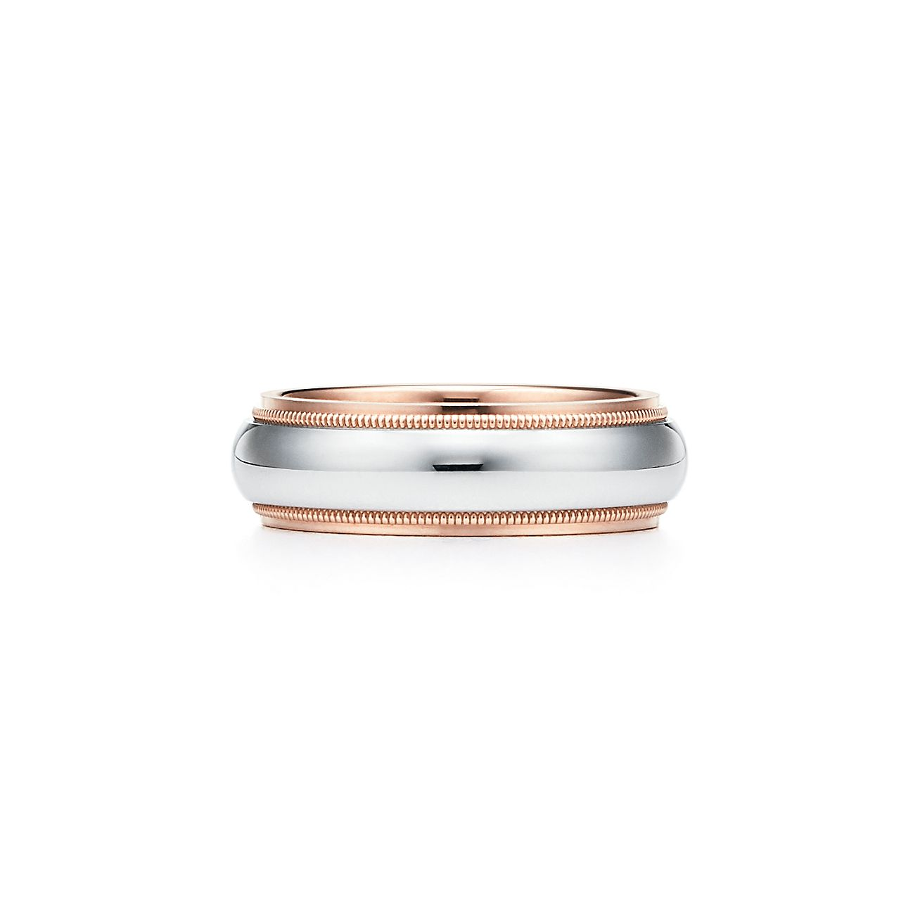Tiffany Classic milgrain wedding band ring in platinum and 18k rose