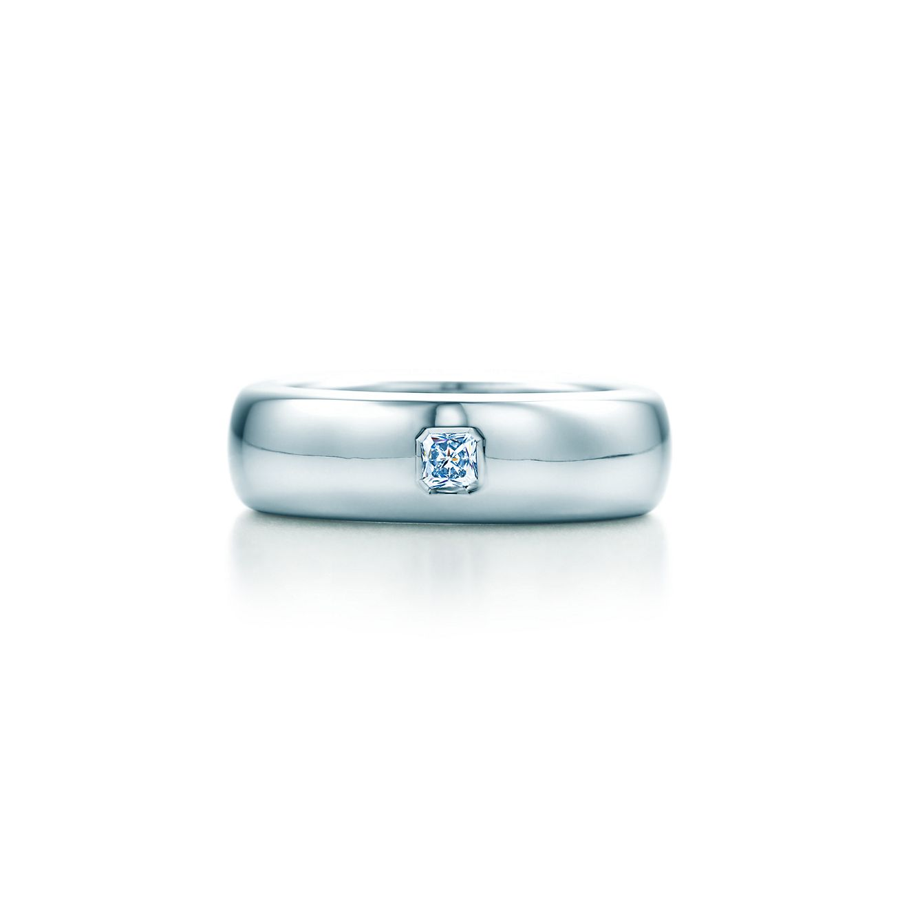 Tiffany classic wedding band ring in platinum with a diamond 6 mm tiffany classicwedding band ring junglespirit Gallery