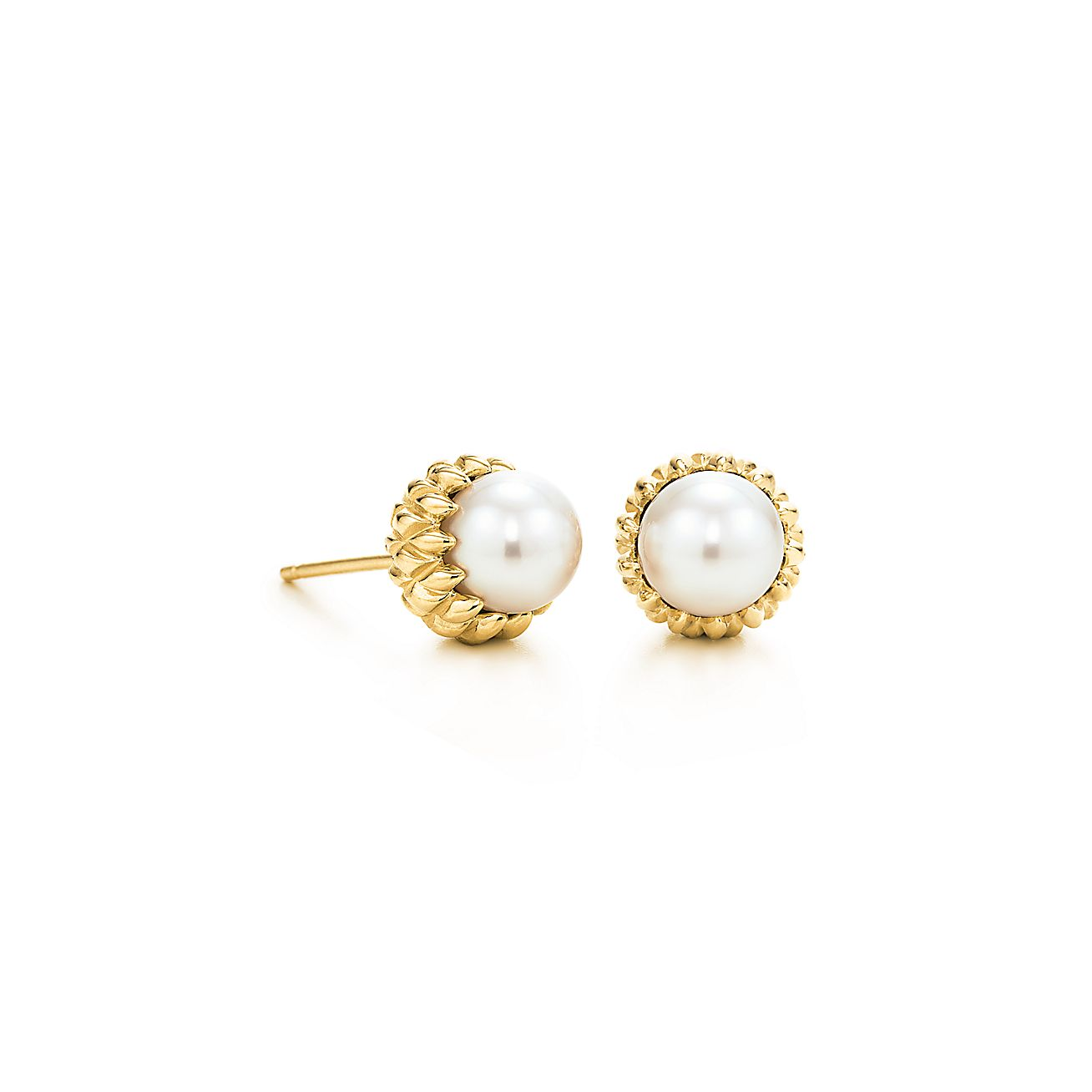 Schlumberger Acorn Earrings In 18k Gold With Akoya Pearls Tiffany Co