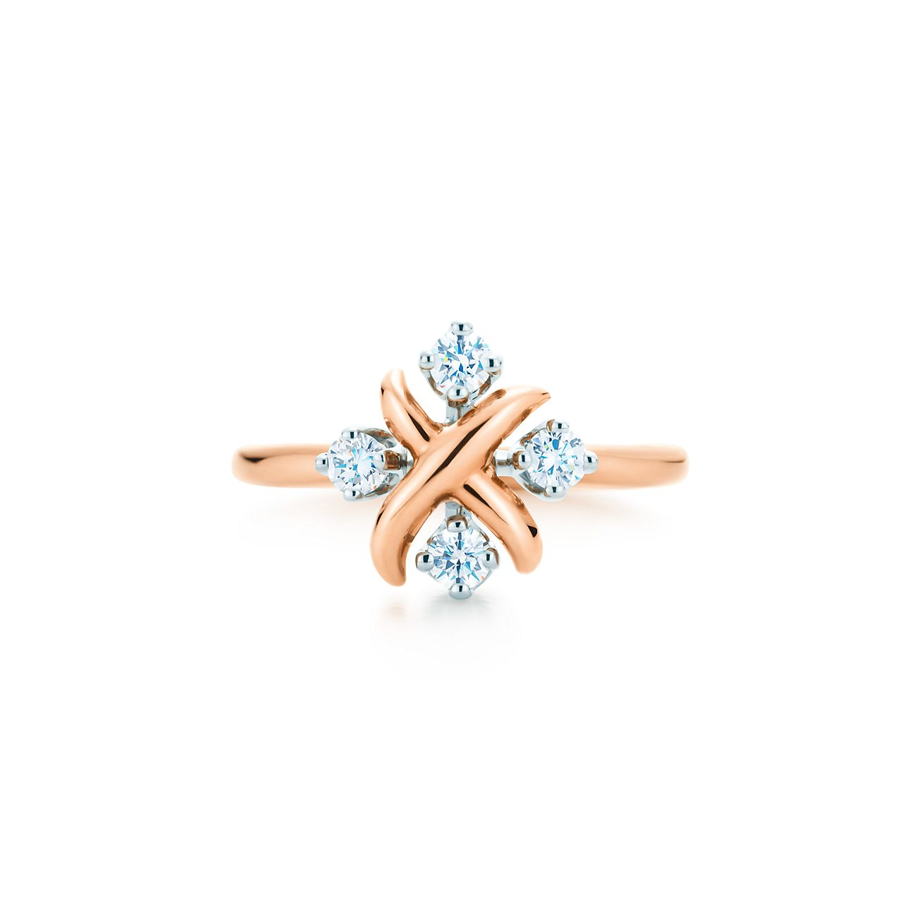 Tiffany Co Schlumberger Lynn Ring In 18k Rose Gold With Diamonds
