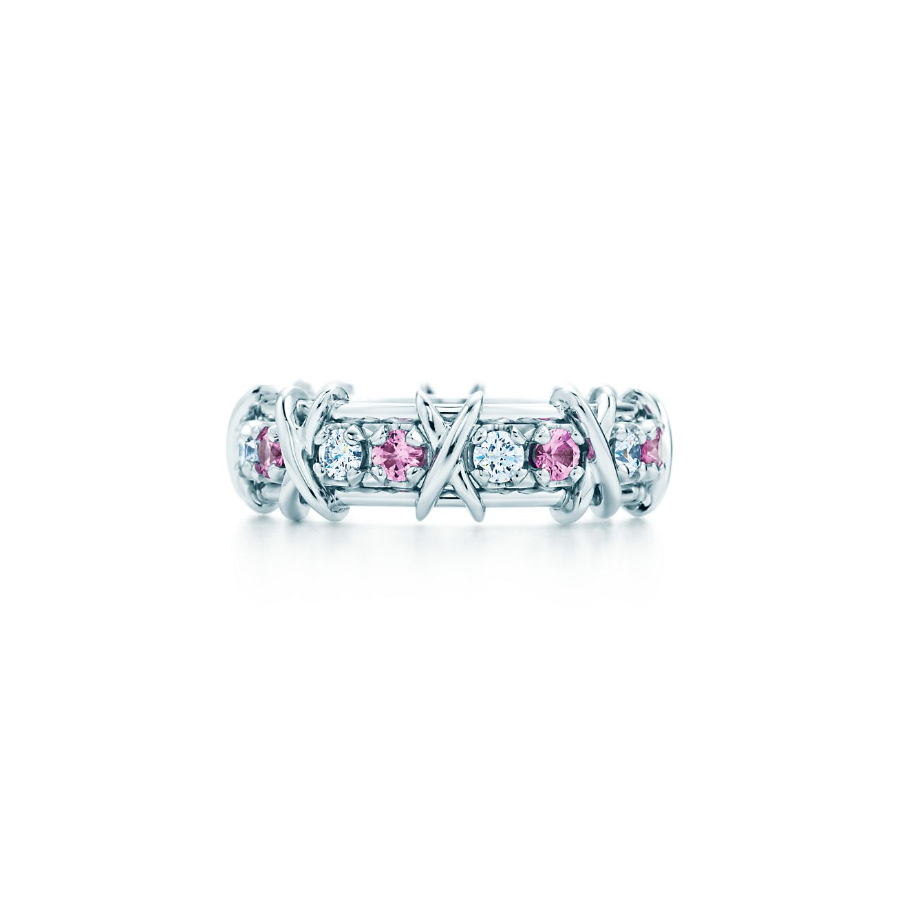 5a9b9ad227ac Tiffany   Co. Schlumberger Sixteen Stone ring with diamonds and pink ...