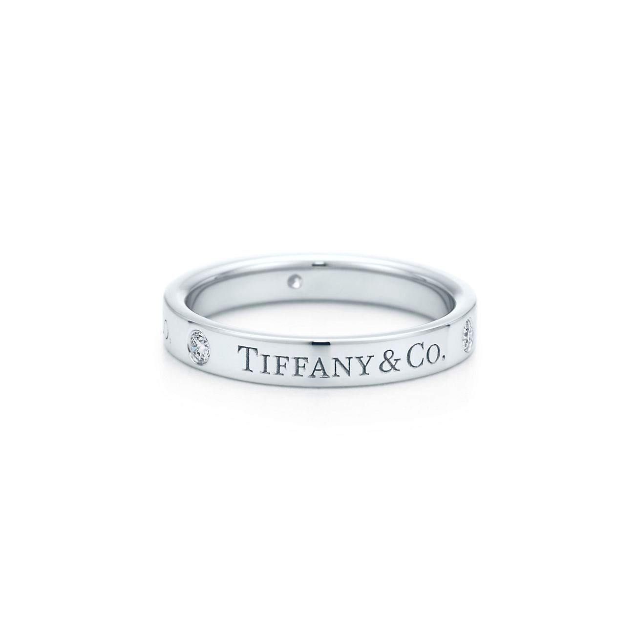 Tiffany & Co Anneau De Bande En Platine De Rubis, De 3 Mm De Large - Taille 9 1/2 Tiffany & Co.