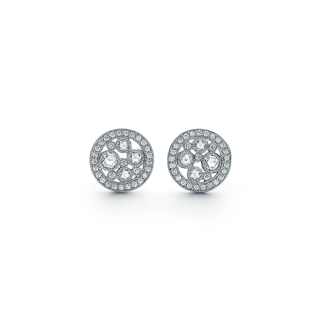 Tiffany Cobblestone Earrings In Platinum With Diamonds Mini Co