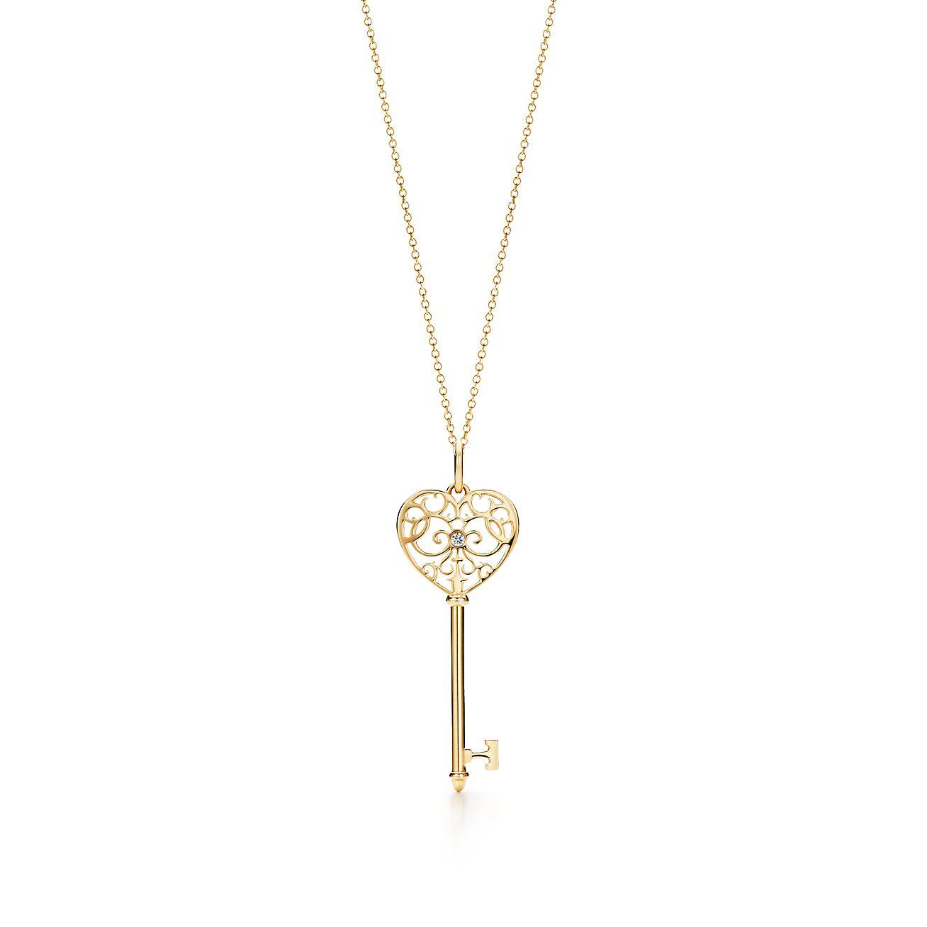 Tiffany enchant heart key pendant in 18k gold with diamonds tiffany enchantheart key pendant aloadofball Gallery