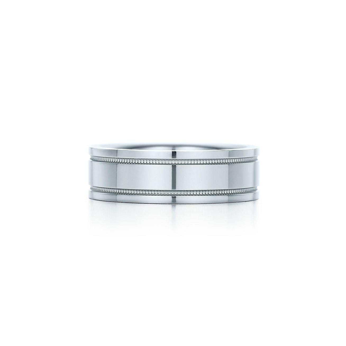 Tiffany flat double milgrain wedding band ring in platinum 6 mm tiffany flat doublebrmilgrain weddingbrband ring junglespirit Image collections