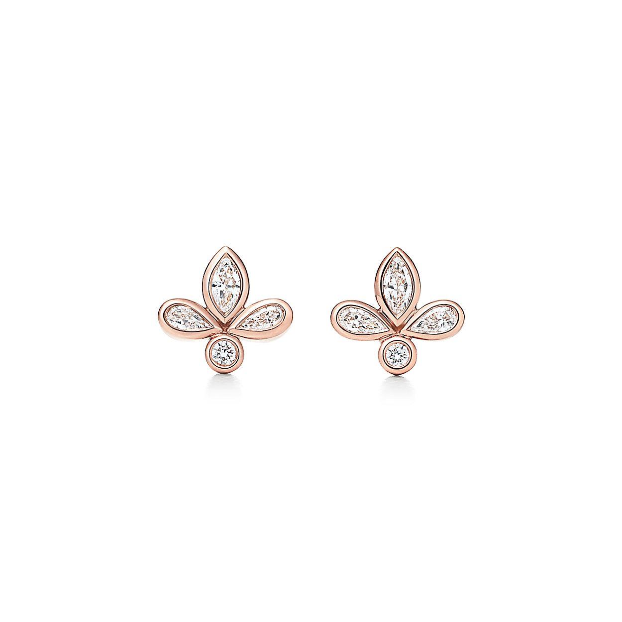 Tiffany Fleur De Lis Earrings In 18k Rose Gold With Diamonds Mini Tiffany Co