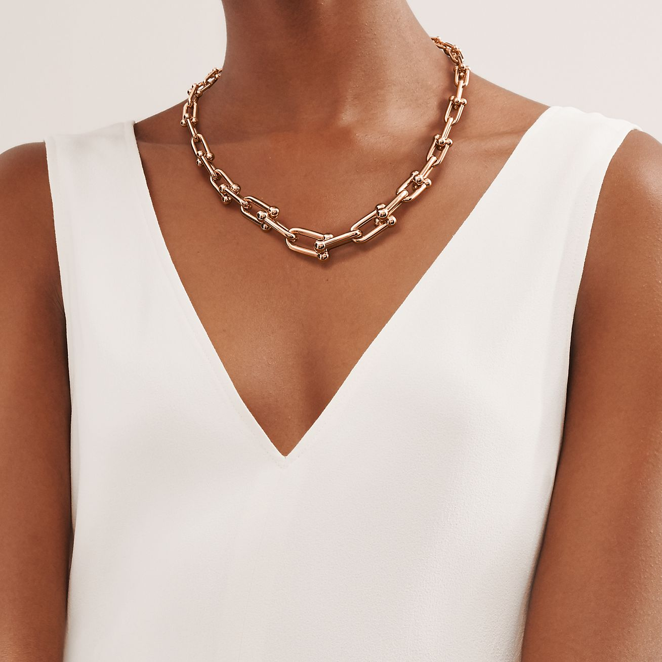 Tiffany Hardwear Graduated Link Necklace In 18k Rose Gold Tiffany Co