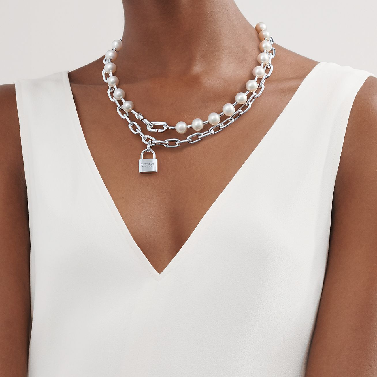 Long Pearl and Silver chain necklace