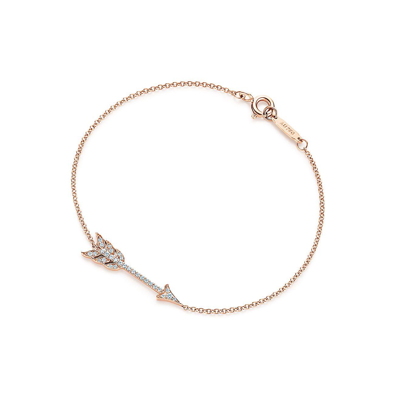 tiffany hearts arrow bracelet in 18k rose gold with diamonds small