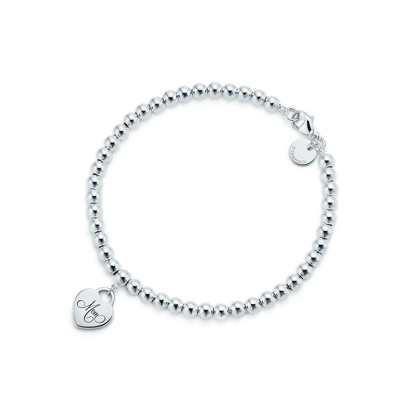 Sterling Silver Mom Heart Tag Bead Bracelet Tiffany Co