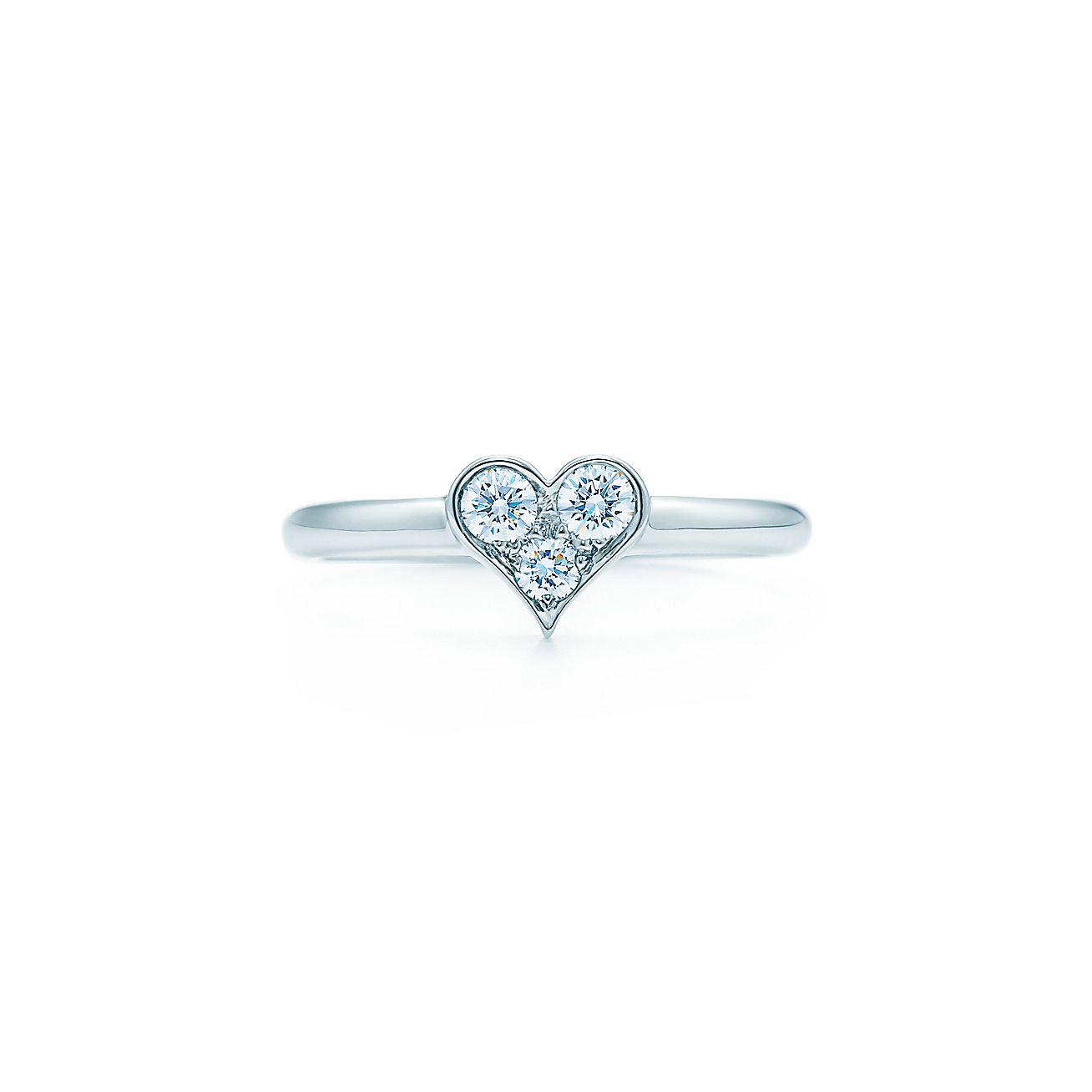 Tiffany Hearts Ring In Platinum With Diamonds Tiffany Co