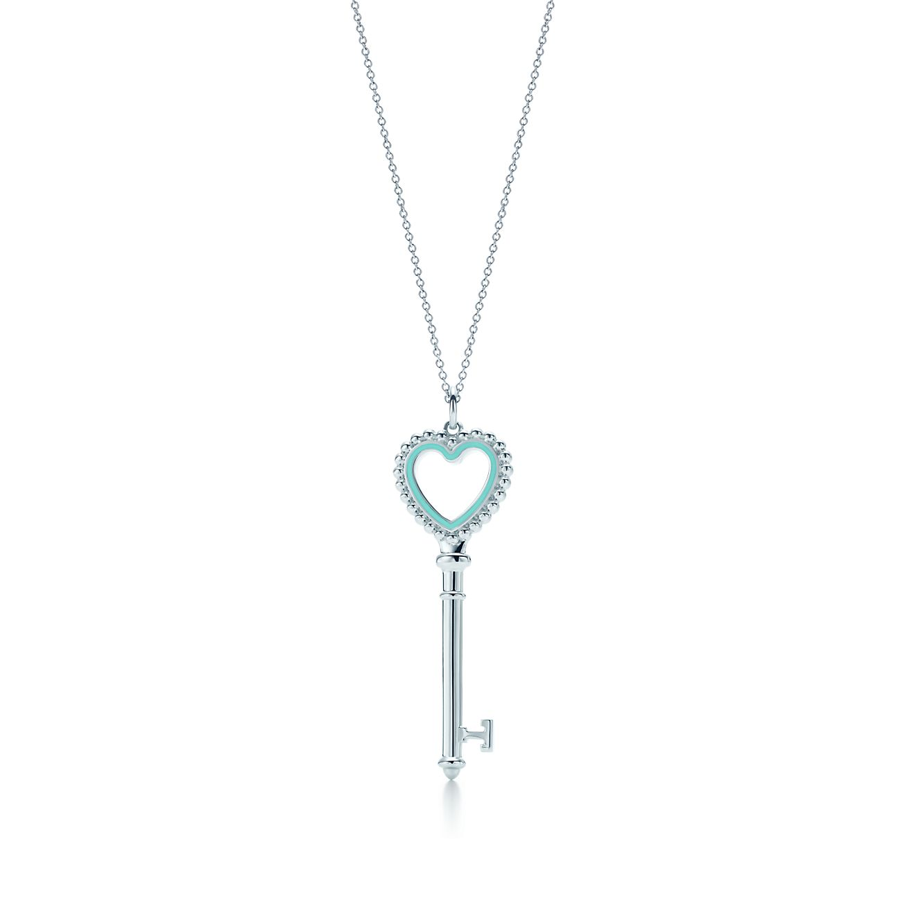 Tiffany keys beaded heart key pendant in silver with enamel finish tiffany keysbeaded heart key pendant aloadofball Image collections