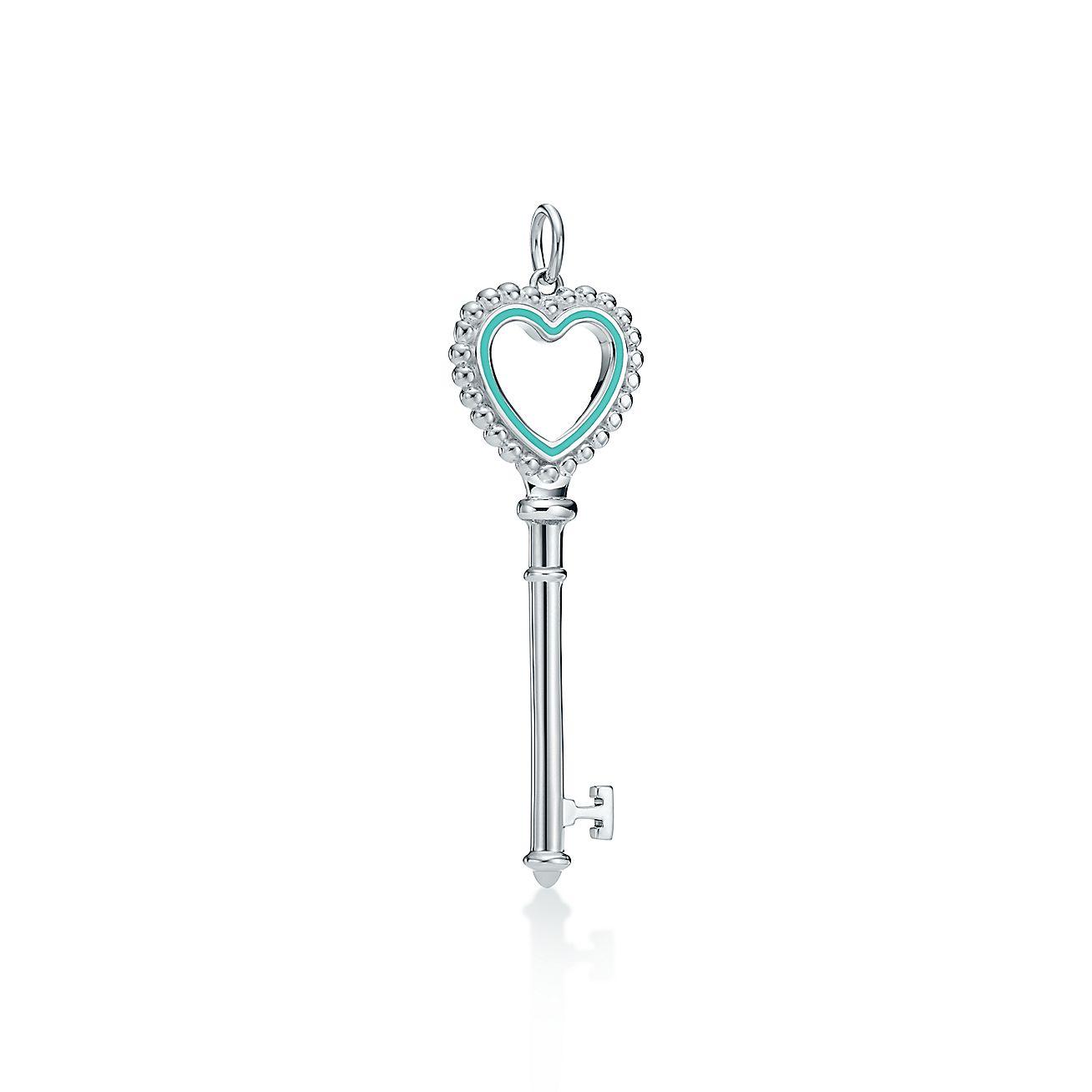 Tiffany Keys Beaded Heart Key Pendant In Sterling Silver With Enamel Finish Tiffany Co