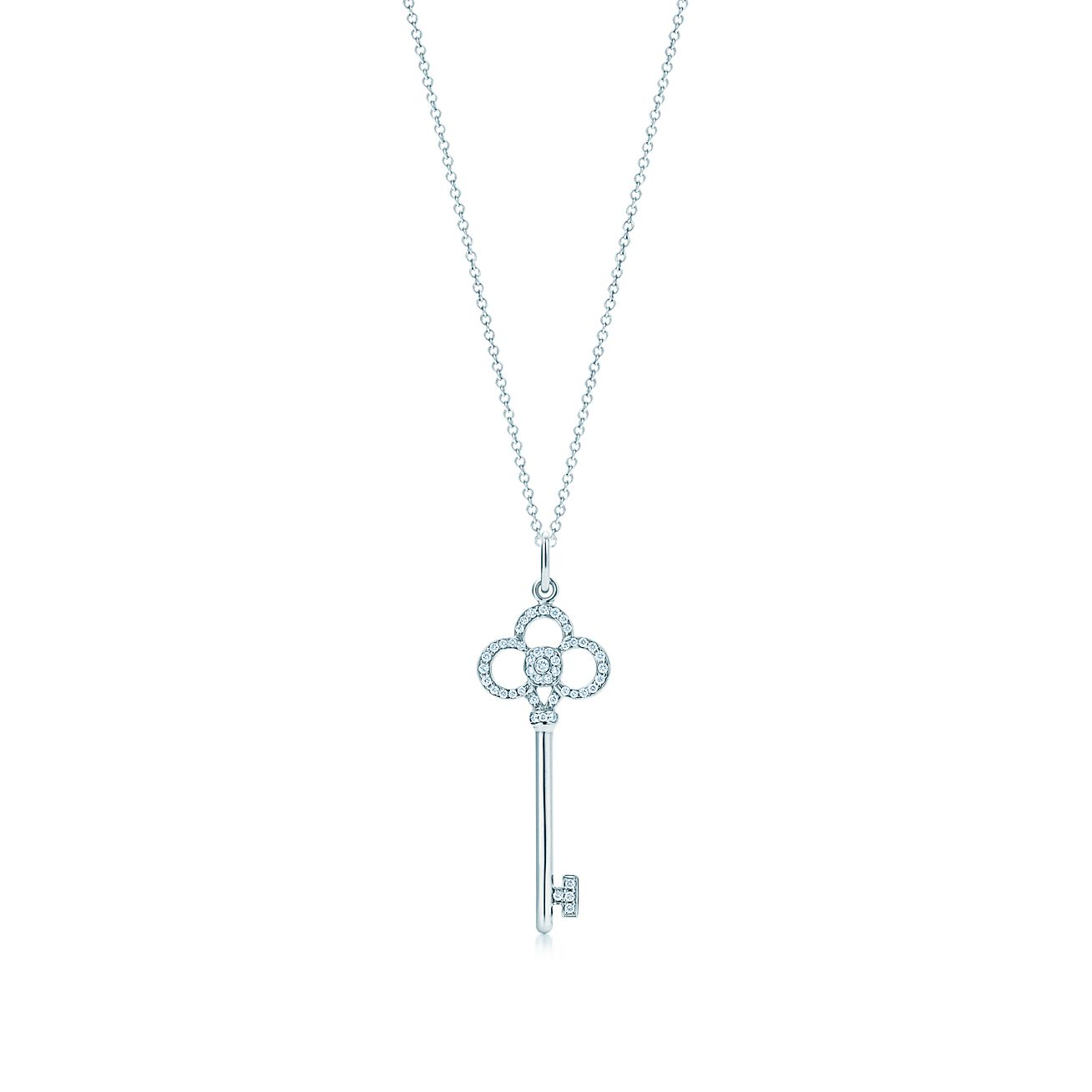 Tiffany Keys Crown Key Diamond Pendant In 18k White Gold Tiffany Co
