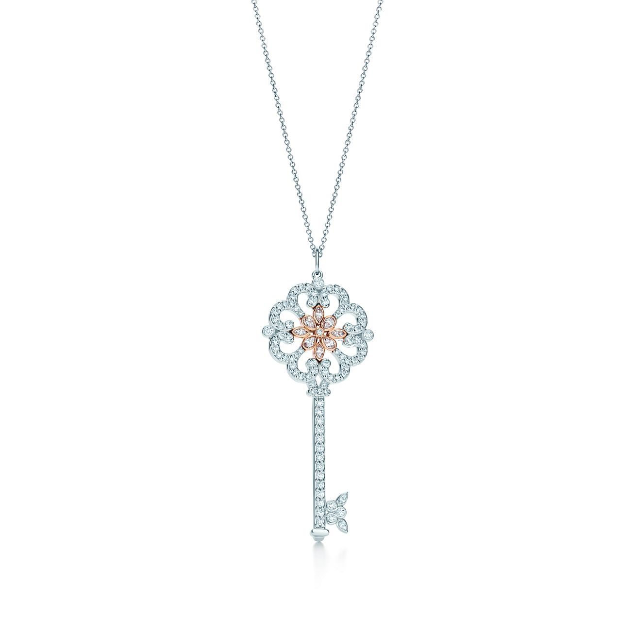 Tiffany Keys Enchant Diamond Primrose Key Pendant In Platinum And 18k Rose Gold Tiffany Co