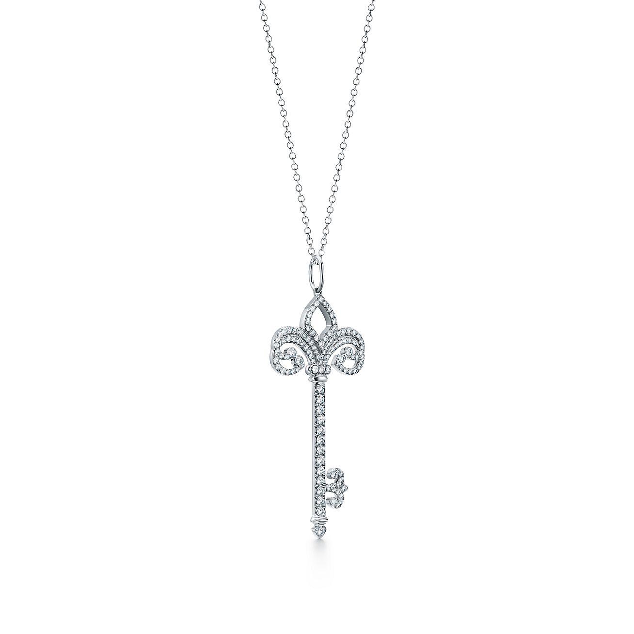 Tiffany keys fleur de lis key pendant in platinum with diamonds tiffany keysfleur de lis key pendant aloadofball Choice Image