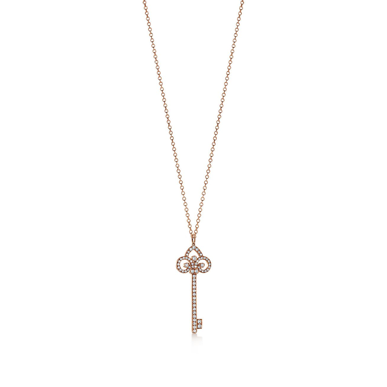 Tiffany keys fleur de lis key pendant in 18k rose gold with diamonds tiffany keysfleur de lis key pendant aloadofball Images