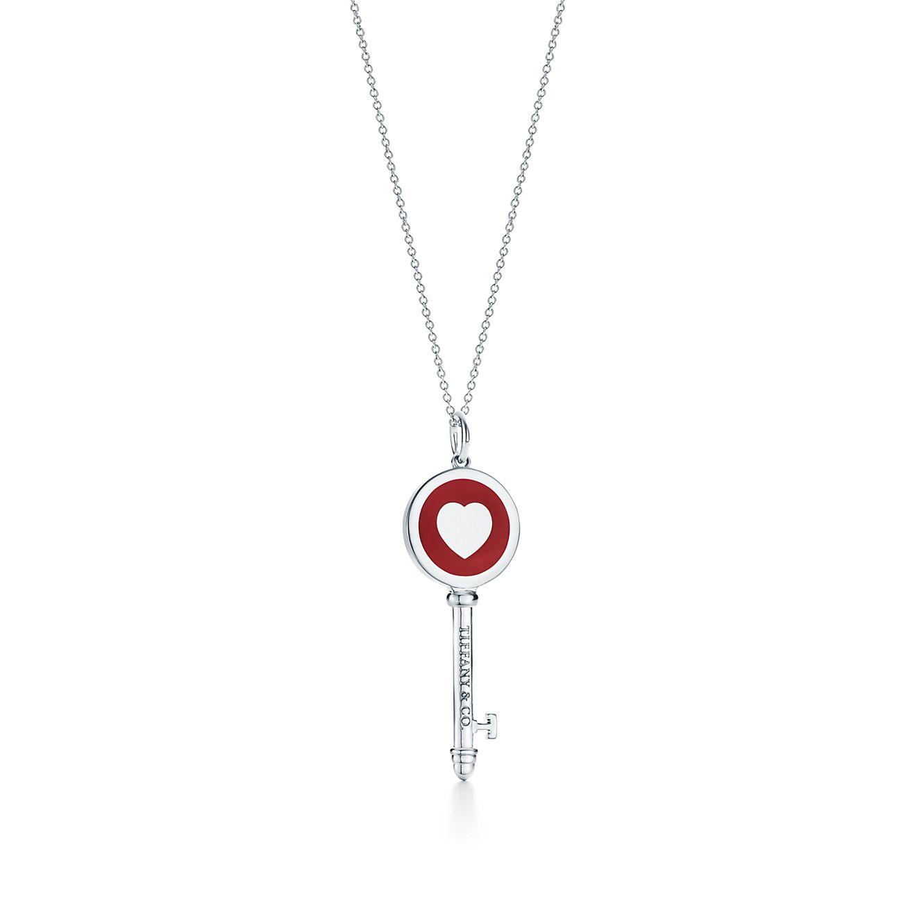 Tiffany keys heart key pendant in silver with red enamel finish tiffany keysheart pendant aloadofball Choice Image