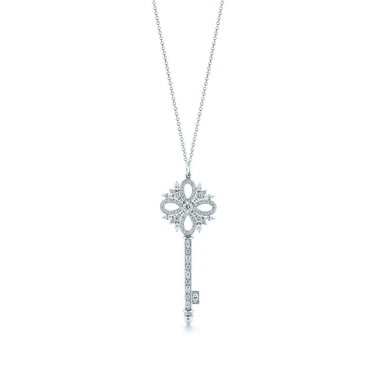 Tiffany Keys Tiffany Victoria Key Pendant In Platinum With Diamonds Medium Tiffany Co