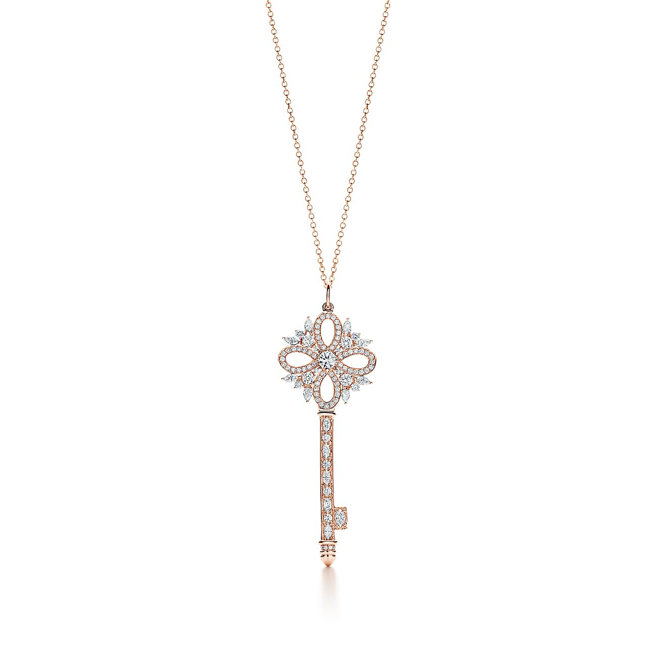 Tiffany Keys Tiffany Victoria Key Pendant In Rose Gold With Diamonds Large Tiffany Co
