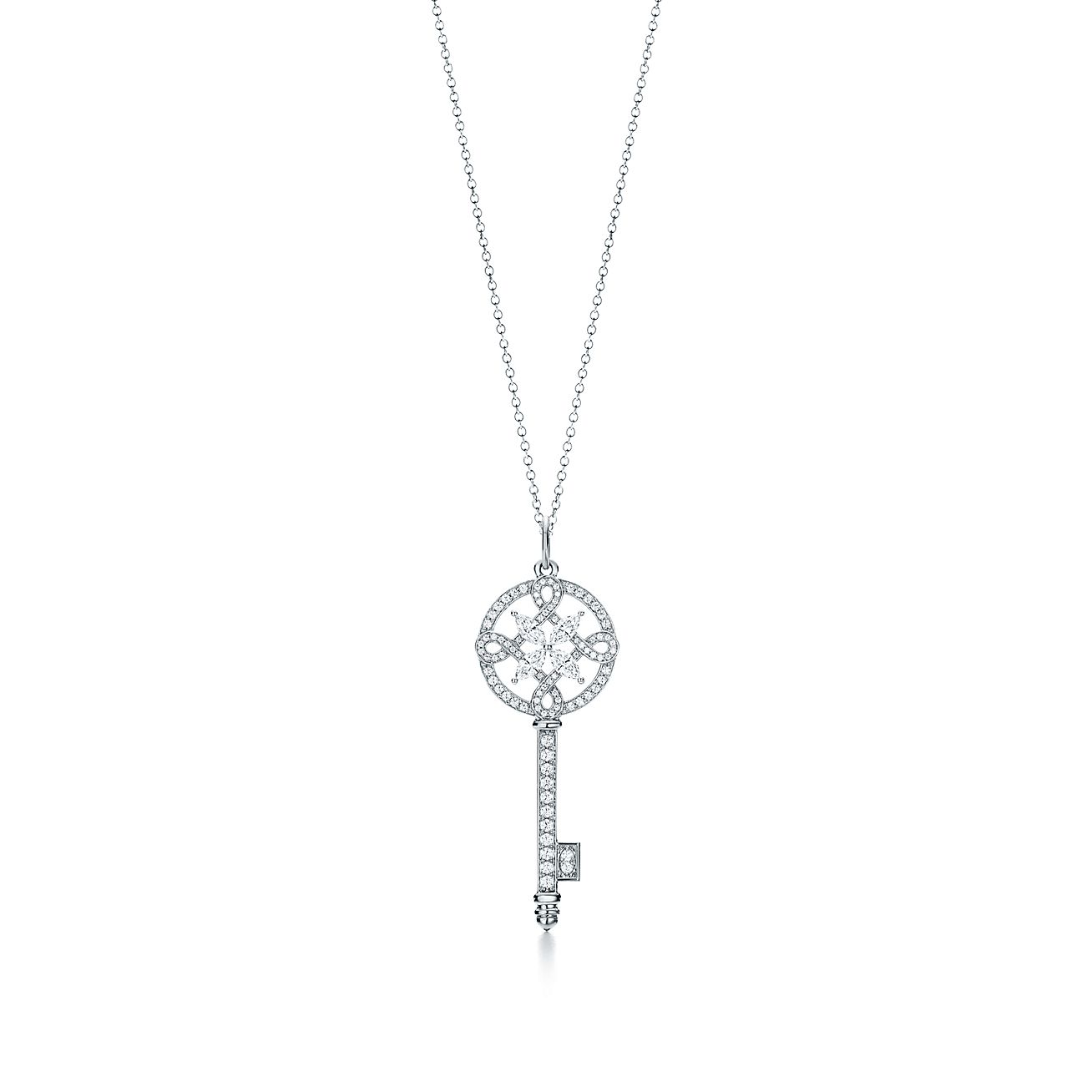 Silver Rounded Key Necklace