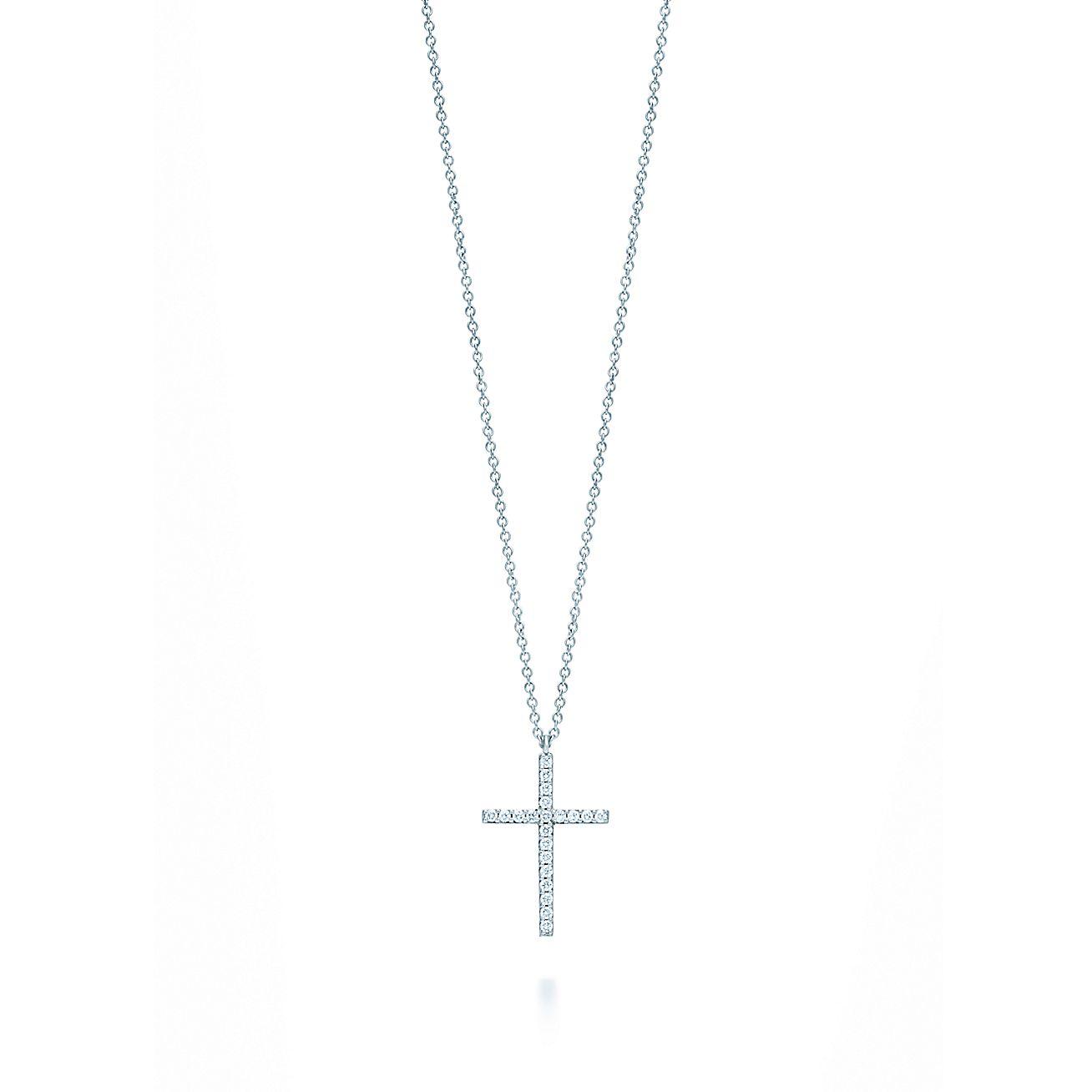 Tiffany metro cross pendant in 18k white gold with diamonds medium tiffany metro cross pendant in 18k white gold with diamonds medium tiffany co aloadofball Choice Image