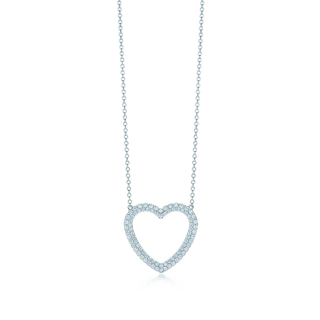 Tiffany Metro heart pendant in 18k white gold with diamonds medium