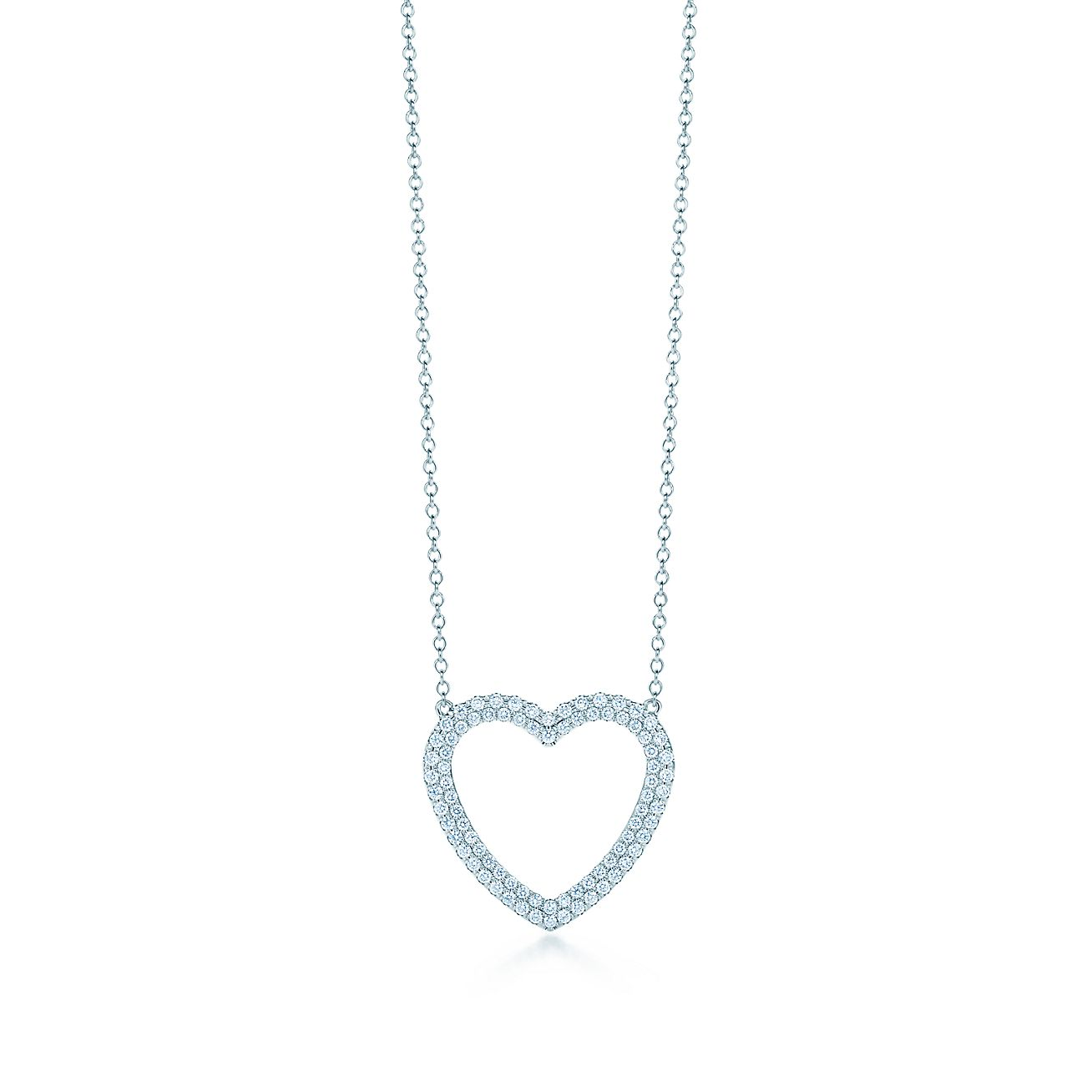 Tiffany metro heart pendant in 18k white gold with diamonds medium tiffany metroheart pendant aloadofball Images