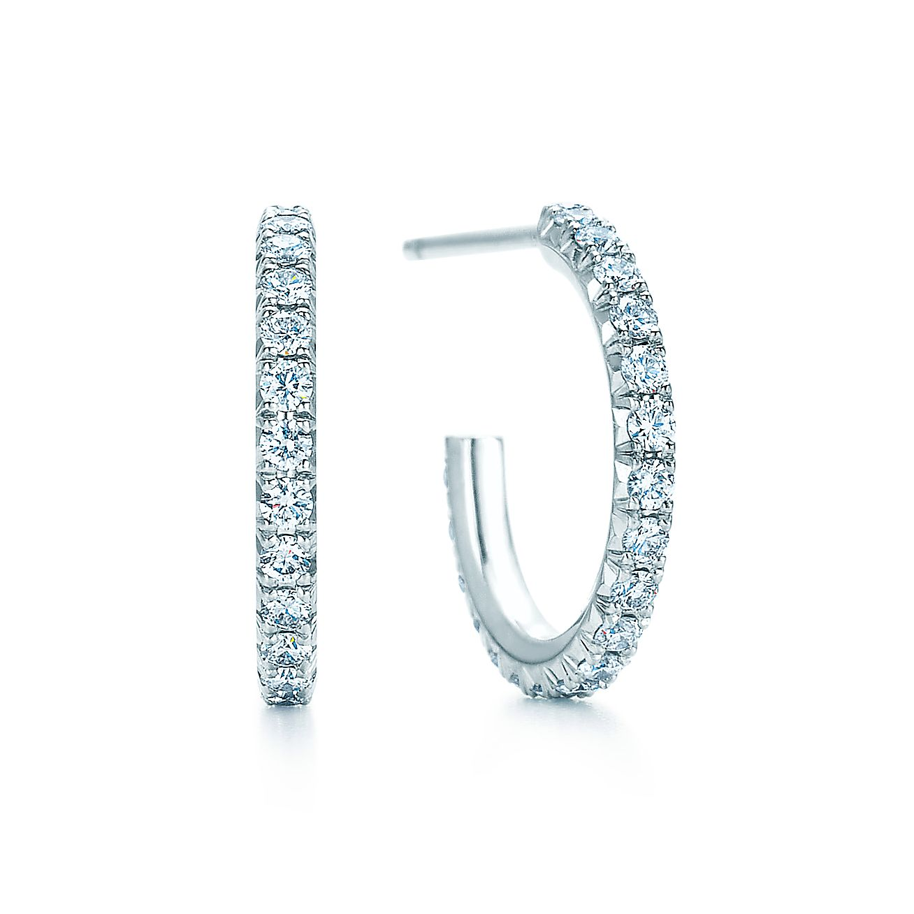 Tiffany Metro Hoop Earrings In 18k White Gold With Diamonds Small Co