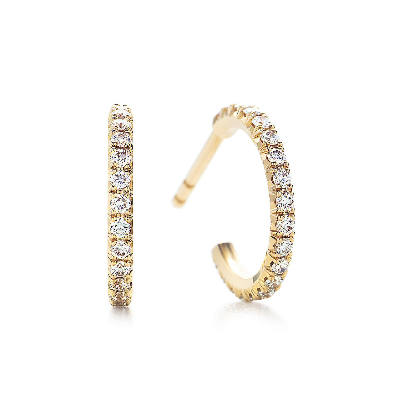 Tiffany Metro Hoop Earrings In 18k Gold With Diamonds Small Co