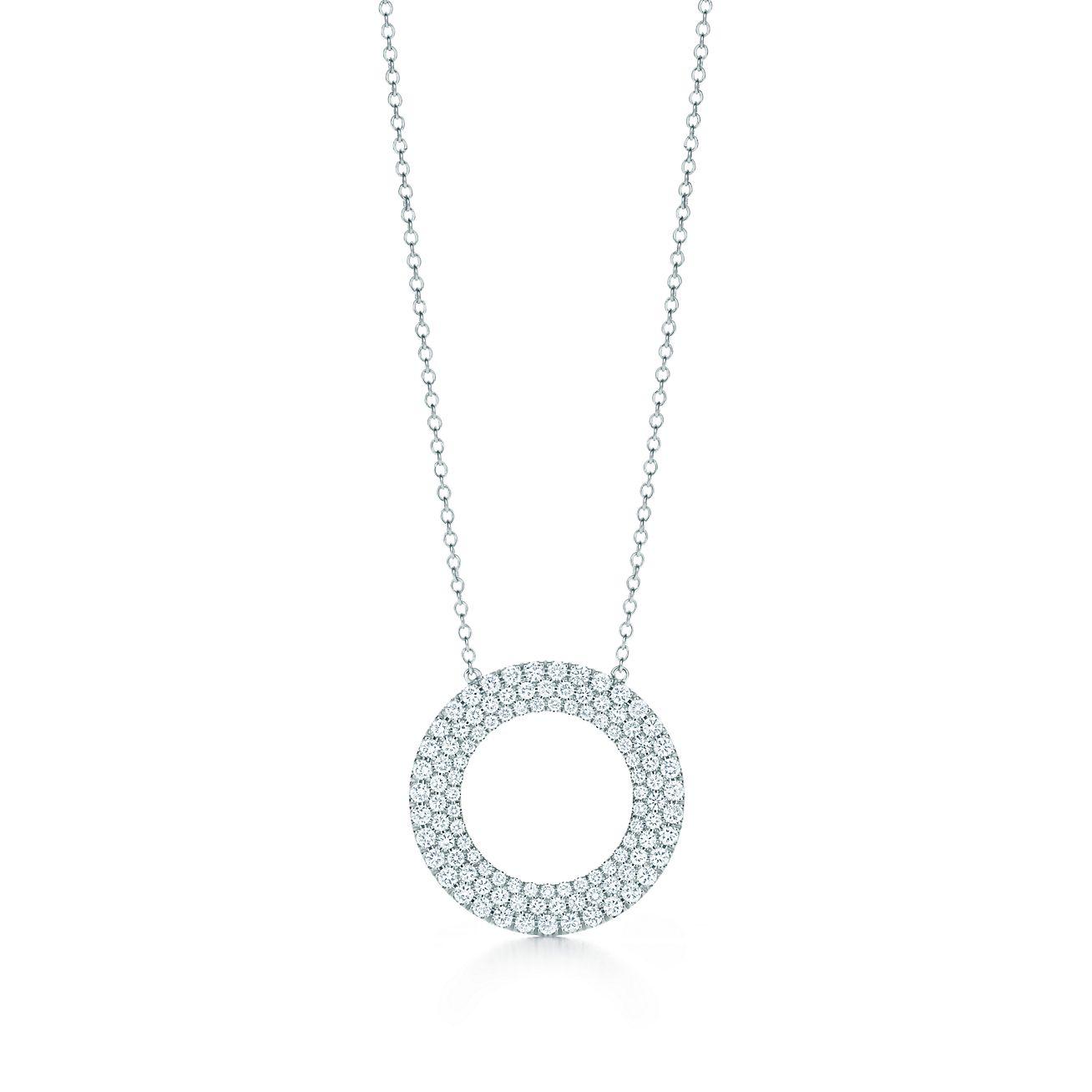 Tiffany Metro threerow circle pendant in 18k white gold with