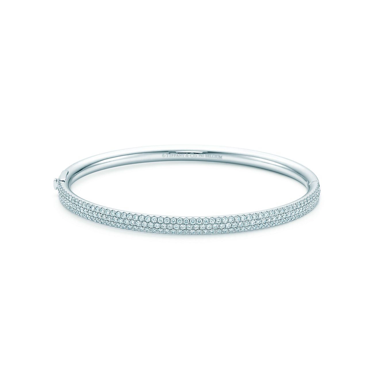 Tiffany Metro threerow hinged bangle in 18k white gold with
