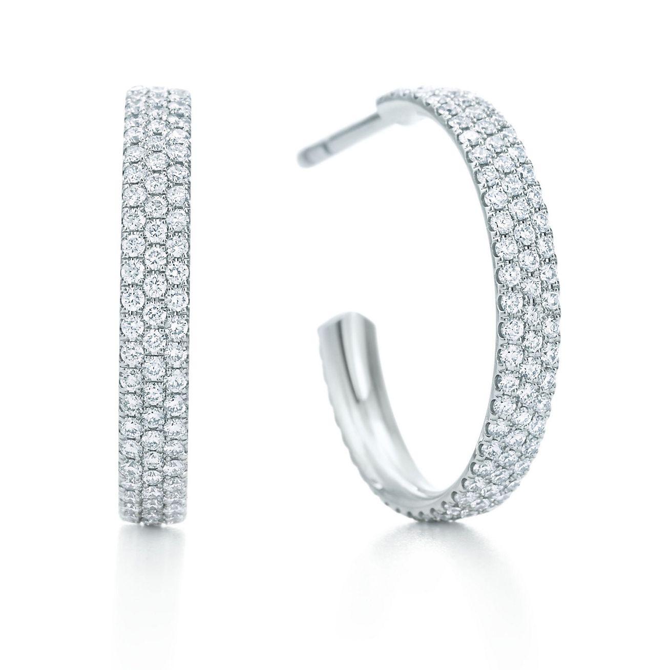 Tiffany Metro threerow hoop earrings in 18k white gold with
