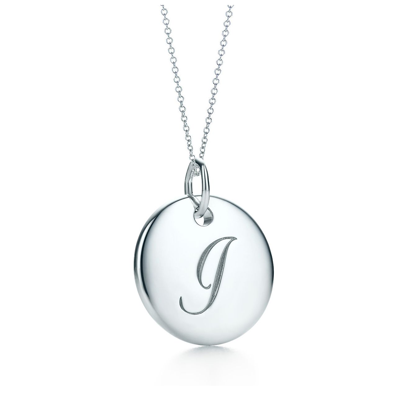 a784927d21f5 Tiffany Notes alphabet disc charm in silver on a chain. Letters A-Z  available.